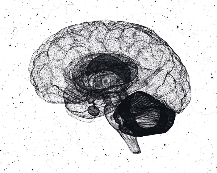 image of a brain made up by black and white particles
